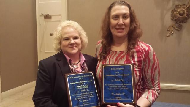 Individual Pro Bono Award: Risa Burgess, Dallas Area Paralegal Association  (pictured here with DAPA President, Lisa Lynch )